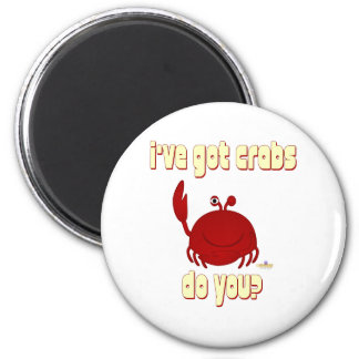 Smiling Red Crab I've Got Crabs Do You 2 Inch Round Magnet
