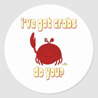 Smiling Red Crab I've Got Crabs Do You Round Stickers