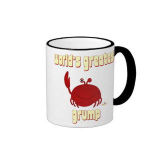 Smiling Red Crab World's Greatest Grump Ringer Coffee Mug