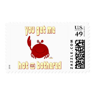 Smiling Red Crab You Get Me Hot And Bothered Postage Stamp