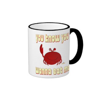 Smiling Red Crab You Know You Wanna Eat Me Ringer Mug