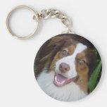 Smiling Red Tri Aussie Basic Round Button Keychain