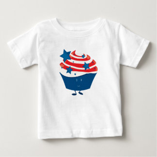 Smiling red white and blue cupcake baby T-Shirt
