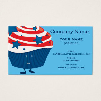 Smiling red white and blue cupcake business card