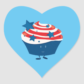 Smiling red white and blue cupcake heart sticker