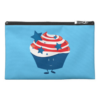 Smiling red white and blue cupcake travel accessory bag