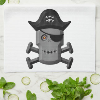 Smiling Robot Pirate Jolly Roger Towels