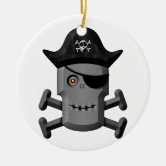 Smiling Robot Pirate Jolly Roger Christmas Tree Ornament