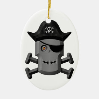 Smiling Robot Pirate Jolly Roger Ornament