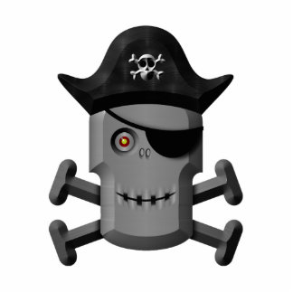Smiling Robot Pirate Jolly Roger Cut Out