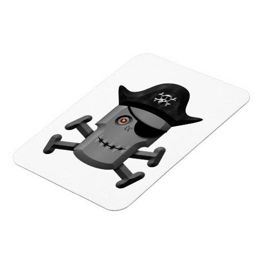 Smiling Robot Pirate Jolly Roger Rectangular Photo Magnet