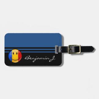 Smiling Romanian Flag Bag Tag