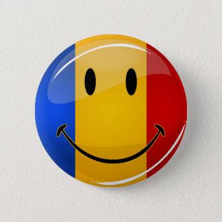 Smiling Romanian Flag Button