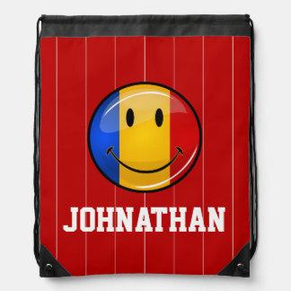 Smiling Romanian Flag Drawstring Bag