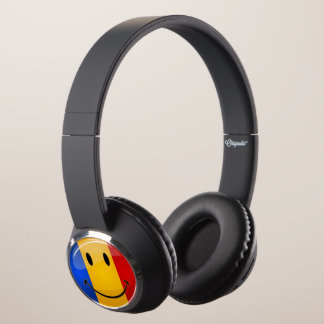 Smiling Romanian Flag Headphones