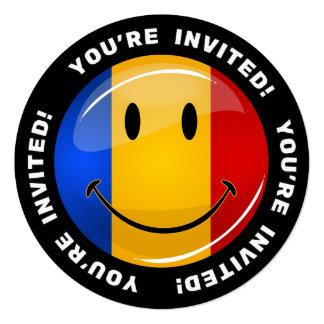 Smiling Romanian Flag 5.25x5.25 Square Paper Invitation Card