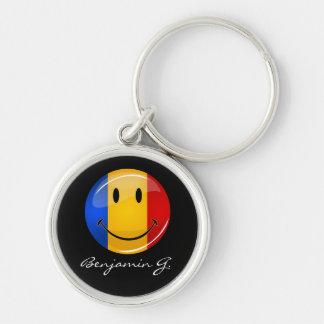 Smiling Romanian Flag Keychain