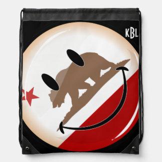 Smiling Round California Flag Drawstring Backpacks