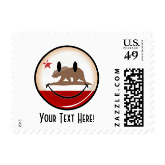 Smiling Round California Flag Postage Stamps