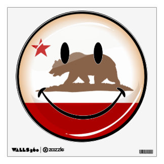Smiling Round California Flag Wall Decal