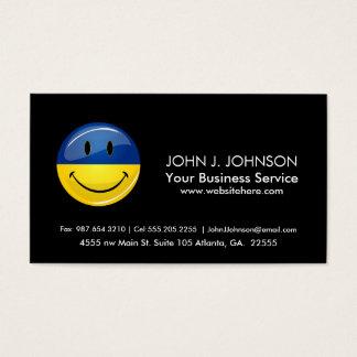 Smiling Round Ukrainian Flag Business Card