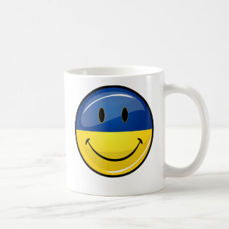 Smiling Round Ukrainian Flag Coffee Mug