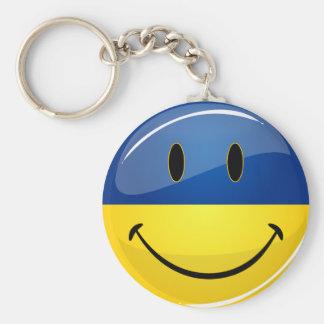Smiling Round Ukrainian Flag Keychain