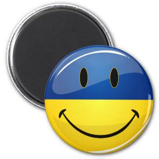 Smiling Round Ukrainian Flag Magnet