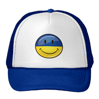 Smiling Round Ukrainian Flag Trucker Hat