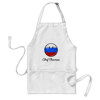 Smiling Russian Flag Adult Apron