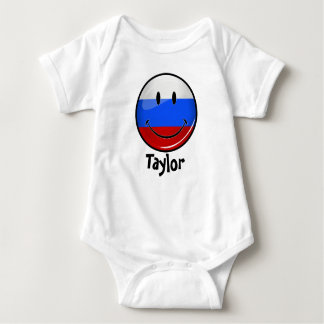 Smiling Russian Flag Baby Bodysuit