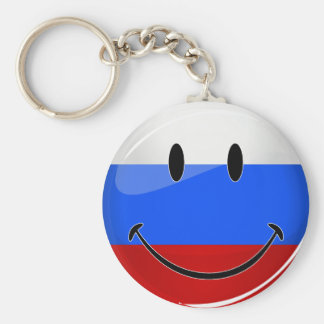 Smiling Russian Flag Basic Round Button Keychain