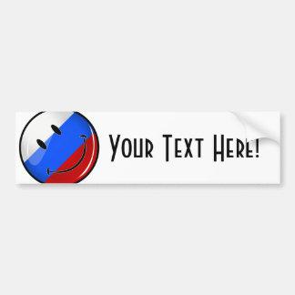 Smiling Russian Flag Car Bumper Sticker