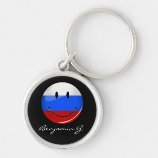 Smiling Russian Flag Silver-Colored Round Keychain