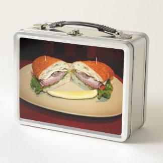 Smiling Sandwich Metal Lunch Box