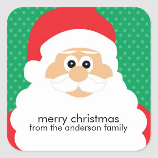 Smiling Santa Claus Holiday Square Sticker