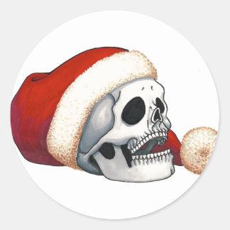 Smiling Santa Skull Holiday Card Classic Round Sticker
