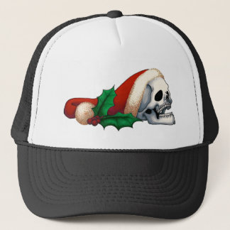 Smiling Santa Skull with Holly Berries Trucker Hat