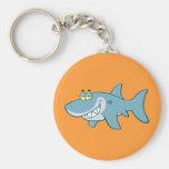 Smiling Shark Basic Round Button Keychain