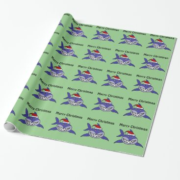 Christmas Themed Smiling Shark Christmas Gift Wrap
