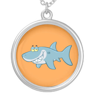 Smiling Shark Round Pendant Necklace