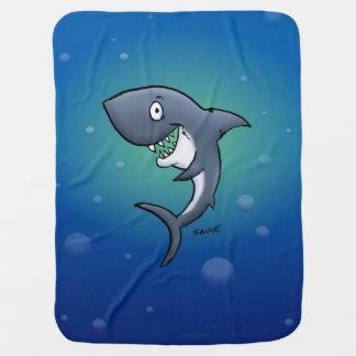 Smiling Shark on Undersea Background Blanket