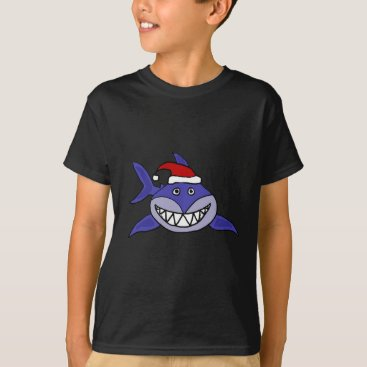 Christmas Themed Smiling Shark Wearing Santa hat Christmas Art T-Shirt