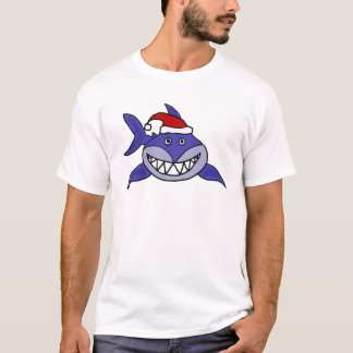 Smiling Shark Wearing Santa hat Christmas Art T-Shirt