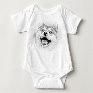 Smiling Shiba Inu dog Baby Bodysuit