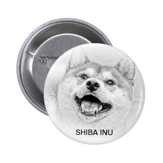 Smiling Shiba Inu dog Pinback Buttons