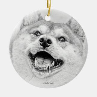 Smiling Shiba Inu dog Ceramic Ornament