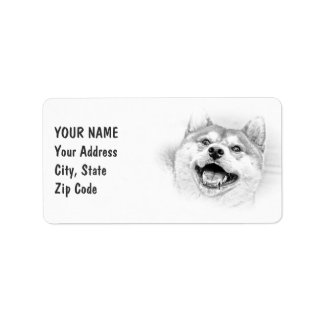 Smiling Shiba Inu dog Label