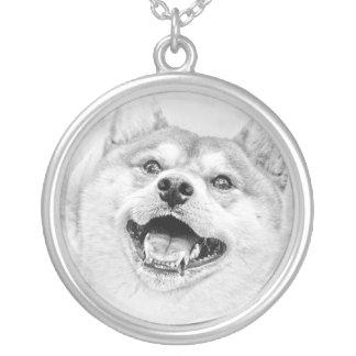 Smiling Shiba Inu dog Round Pendant Necklace