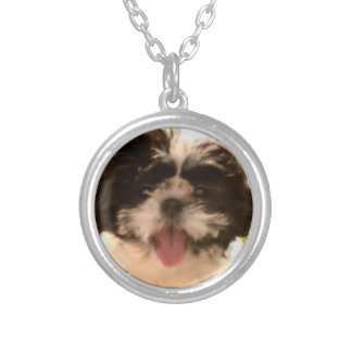 Smiling Shih Tzu Puppy Watercolor Round Necklace